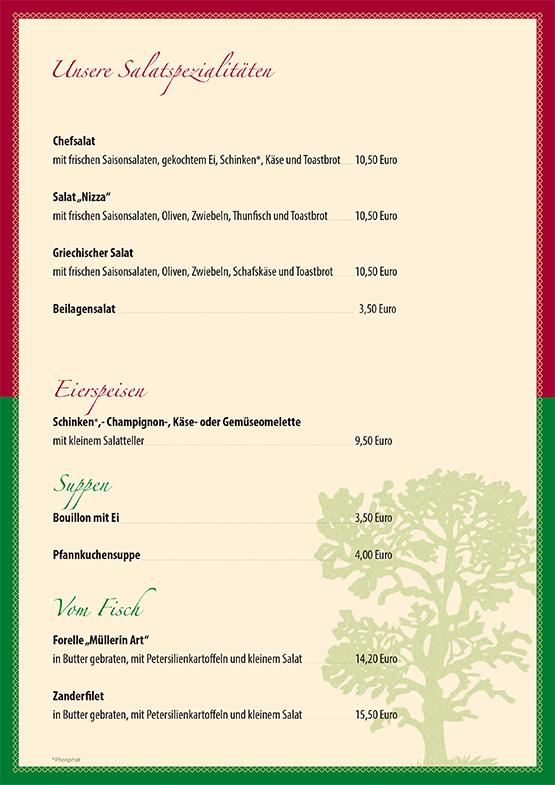 """Gasthof """"Zur Platte"""" - Waldrestaurant und Pension - Speisekarte"""
